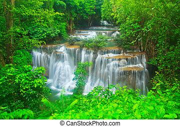Waterfall in the forest kanchanaburi thailand