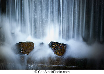 waterfall in the forest. Night fresh scene