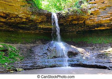 Waterfall in the mountain.