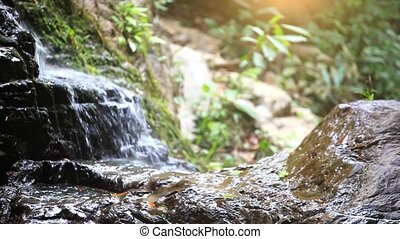 Waterfall in the mountains. Nature background with change focus and shift camera. 1920x1080