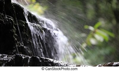 Waterfall in the mountains. Nature background with change...