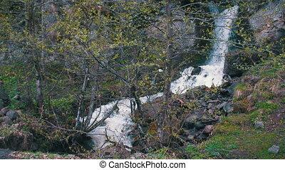 Waterfall in the Mountains of Georgia - Waterfall in the...