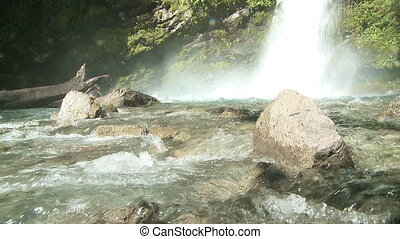 Waterfall in the mountains of the southern province Chubut...