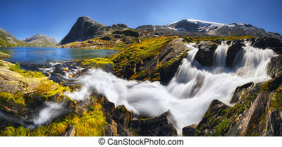 Waterfall in the south of Norway near Geiranger on a sunny day, Romsdal