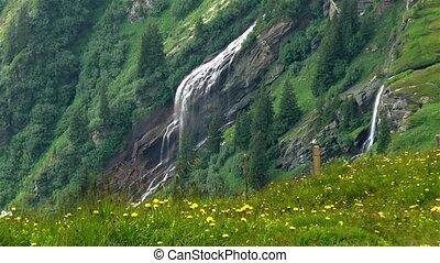 Swiss Alps landscape: waterfall near Grindelwald.