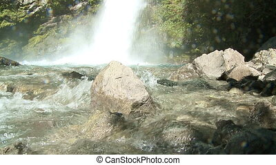 Waterfall in the woods of the southern province Chubut in...