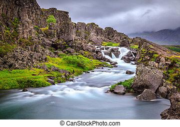 Waterfall in Thingvellir National Park, Iceland