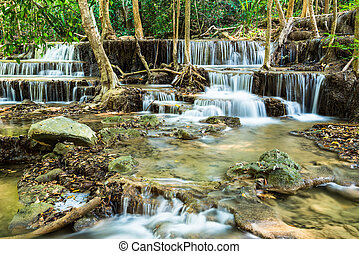 Waterfall in Tropical forest at Huay Mae Kamin
