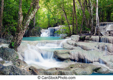 Waterfall in tropical forest of Thailand