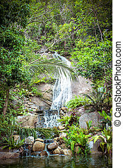 Waterfall in tropical forest on Koh Samui