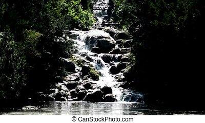 Waterfall in Viktoriapark in Berlin Kreuzberg, Germany -...