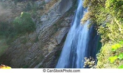 waterfall in villa gregoriana. Tivolli in Italy