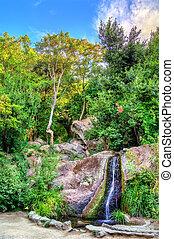 Waterfall in Vorontsov Park in Alupka, Crimea - Waterfall in...