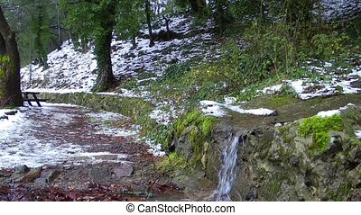 Waterfall in Winter and a Man Walk