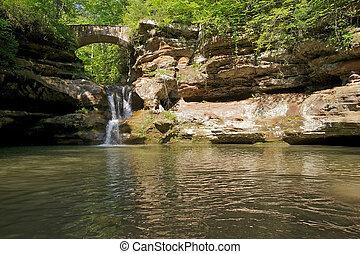 Bridge and Waterfall in Hocking Hills State Park, Ohio