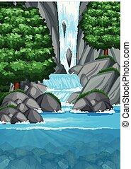 Waterfall into pond scene