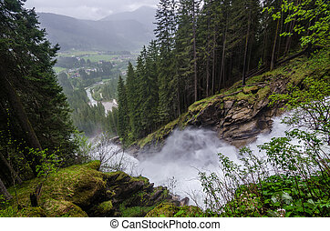 waterfall into the valley