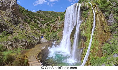 Waterfall Krcic in Knin - Aerial copter shot of wfaterfall...