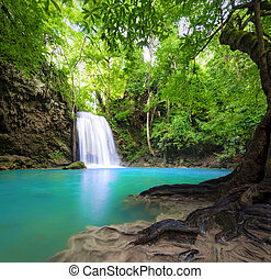 Waterfall landscape background. Beautiful nature outdoor