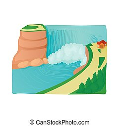 Waterfall landscape icon, cartoon style