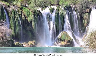 Waterfall landscape timelapse - View at waterfall landscape...