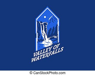 waterfall., landschaftsbild, mountain., nacht