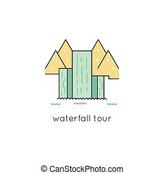 Waterfall line icon