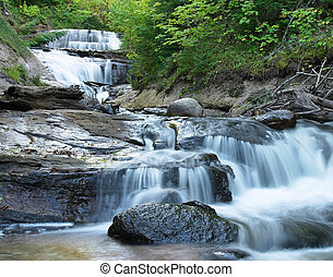 Waterfall Michigan - Sable Falls in Michigan\'s Pictured...