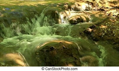 Waterfall, mountain stream. Black River. Crimea, Russia....