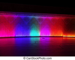Waterfall of lights at night
