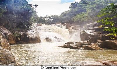Waterfall of Mountain River Stormy Stream Among Rocks