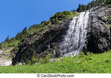 Waterfall of the Stilluptal valley, Zillertal Alps Nature Park, Austria, Tyrol