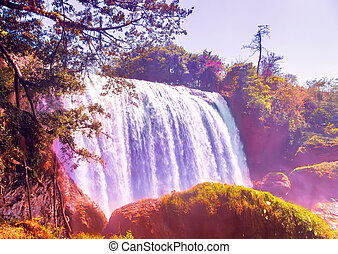 waterfall on mountain landscapes