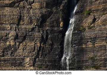 Waterfall on Rock Wall