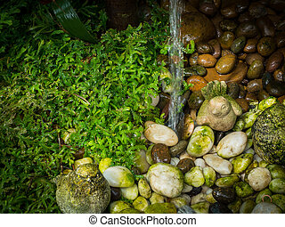 Waterfall on stone and green grass in the garden