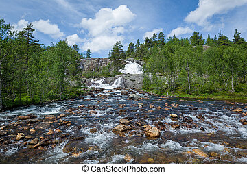 Waterfall on the mountain river in Norway.