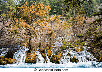 Waterfall on the rocks in the autumn time