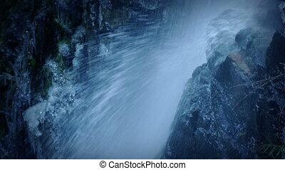 Waterfall Over Rocks Closeup - Closeup shot of waterfall...