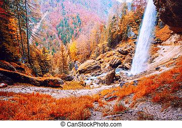 Waterfall Pericnik in Slovenia, Europe