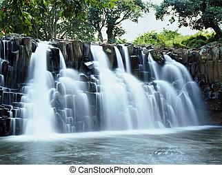 Waterfall - Wide rock waterfall in Mauritius island