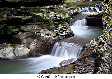 Waterfall Pools - Slow motion waterfall cascading over rocks...