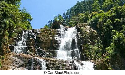 Waterfall Ramboda in Sri Lanka, tilt view