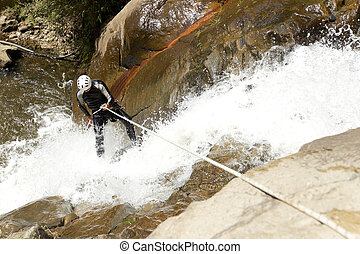 Waterfall Rappelling On Canyoning Adventure - Adult Man ...