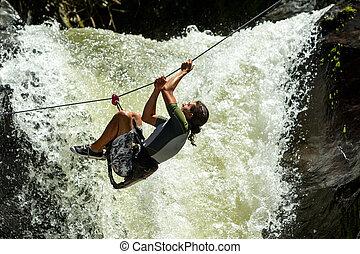 Extreme Sport Waterfall Zip Line Crossing