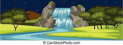 Waterfall scene at night