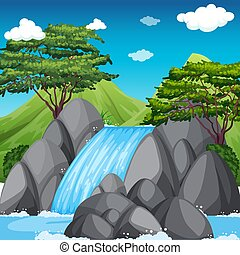 Waterfall scene with big mountains in background