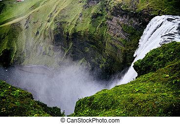 Waterfall Skogafoss in Iceland