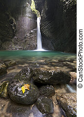 Waterfall - 15 meter high Kozjak waterfall in Slovenia