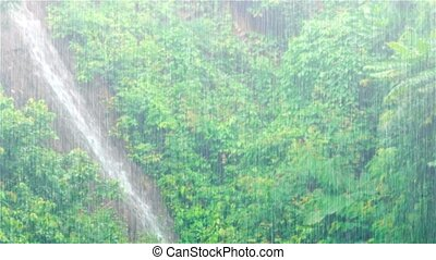 """Waterfall Streaming down - """"Natural waterfall, swollen by..."""