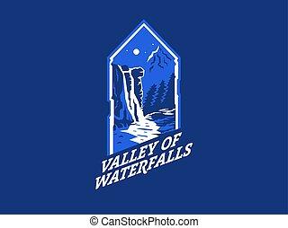 waterfall., táj, mountain., éjszaka